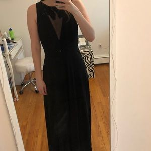Black Gown with Sheer Neckline by Adrianna Papell